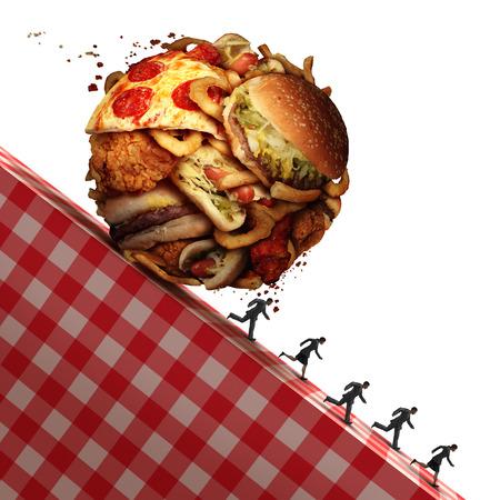 comida chatarra: El colesterol peligro para la salud como comer comida chatarra y se trata de un concepto de nutrición médica de urgencia como las personas que huyen para evitar una dieta poco saludable con una bola hecha de bocadillos grasientos como hamburguesas y patatas fritas con elementos de ilustración 3D.