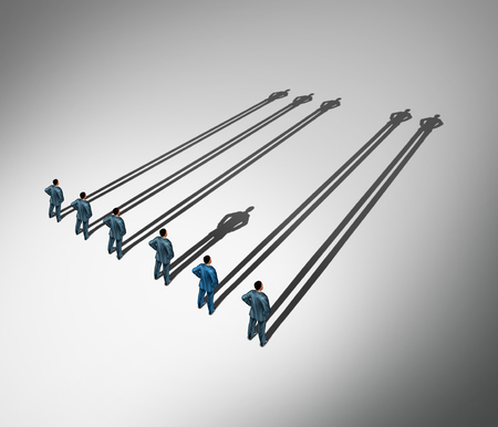 Erectile dysfunction medical concept as a group of men standing casting long shadows but one individual male casts a short shadow as a urology and psychological symbol for erection problems or sexual performance in a 3D illustration style. Stock Photo