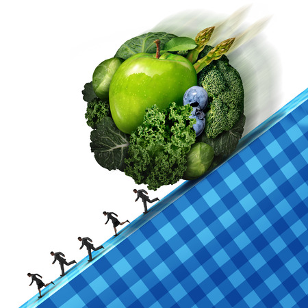 stress ball: Healthy eating pressure as green vegetables and fresh fruit shaped as a ball rolling down a cliff with people running away as a concept of the difficult challenges of maintaining a regimen of good nutrition with 3D illustration elements.