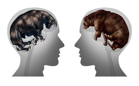 investor: Business market investing thinking and investor psychology as a symbol of advice to Buy or sell stocks as financial bulls and bears shaped as a human brain as a finance metaphor for investment idea with 3D illustration elements.