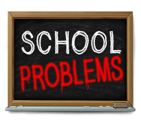 failing: School problems and failing schools concept as a chalk blackboard with text written as an education trouble symbol or literacy and learning challenge or crime in a learning facility wioth 3D illustration elements.