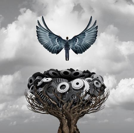 Businessman carrera se inicia como una persona con las alas abiertas volando lejos de un nido de engranajes y ruedas dentadas como una metáfora de negocios y de la industria para el crecimiento corporativo y empresario temprana de inicio rápido con elementos de ilustración 3D. Foto de archivo - 64818643