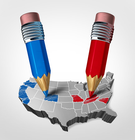 voters: Blue and red states concept as an American election fight as republican versus democrat represented by two pencils coloring the states as a symbol for the vote of the United states presidential and government seat as a 3D illustration.