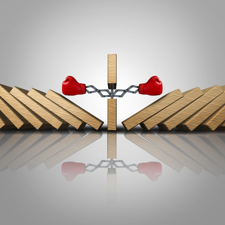 destroying the competition: Winning strategy concept as a domino punching aside other dominos as clever business thinking as a success metaphor and power to dominate symbol as a 3D illustration.