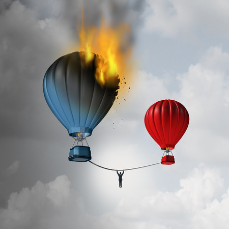 Escaping trouble and leaving a crisis as a businessman hanging from a rope trying to move away from a burning hot air balloon to a safer location as a business metaphor for managing an emergency disaster with 3D illustration elements.