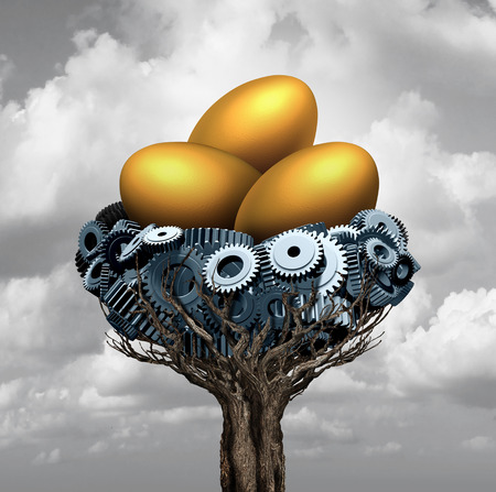 nest egg: Business nest egg concept as a group of gears and cog wheels shaped as a nesting area for gold as a corporate and industry metaphor for financial investing success for corporation prosperity with 3D illustration elements. Stock Photo
