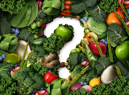 Healthy food questions as a concept for green diet as a group of fresh fruit vegetables nuts beans and berries in the shape of a question mark as a symbol of good high fiber eating and information on natural nutrition in a 3D illustration style.