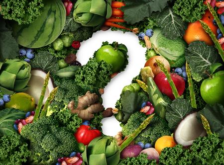 Gesunde Ernährung Fragen als Konzept für grüne Ernährung als eine Gruppe von frischem Obst Gemüse Nüsse Bohnen und Beeren in Form eines Fragezeichen als Symbol für gute ballaststoffreiche Ernährung und Informationen über natürliche Ernährung in einer 3D-Darstellung Stil.