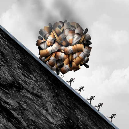 dangerous: Dangers of smoking concept as a falling boulder made of smoke cigarette and tobacco objects as a medical risk and dangerous health care problem of smokers being endangered with 3D illustration elements.