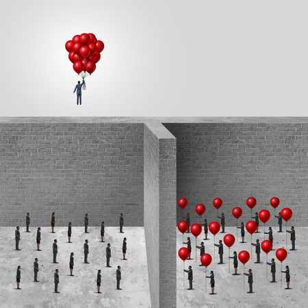 unite: Amalgamation concept as a businessman combining a group of balloons from an organization allowing him to rise above the wall in contrast to another company of individuals each holding a balloon with 3D illustration elements.