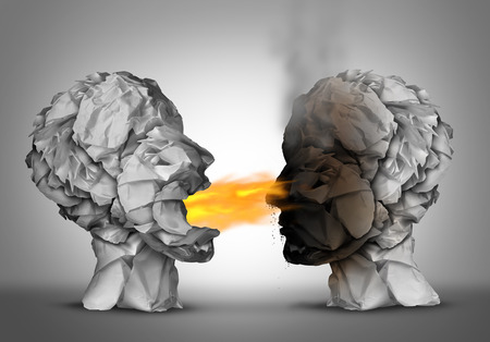burning paper: Debate winner and incendiary inflammatory language or winning an argument or debating ideas as a group of crumpled paper shaped as a human head blowing flames of fire and burning the flammable opponent with 3D illustration elements.