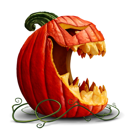 carving: Halloween pumpkin and scary jack o lantern character in a side view with an open mouth on a white background as a symbol for fall and autumn festive communication with 3D illustration elements.