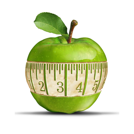 out of shape: Fitness green apple symbol as a measuring tape shape carved out of the healthy fruit as a fitness and nutrition concept for health food dieting and losing weight or staying slim with 3D illustration elements. Stock Photo