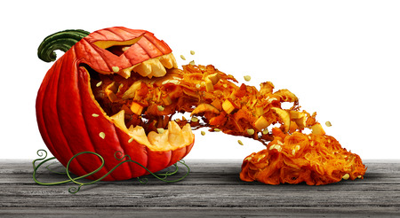 Pumpkin character as a halloween orange squash vegetable and scary jack o lantern icon vomiting seeds and pulp in a side view with an open mouth on a white background as a symbol for fall and autumn festive communication with 3D illustration elements. Stock Photo