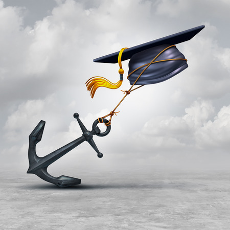 impairment: Education problem and learning challenge concept as a mortar cap or graduation hat being held back by a heavy anchor as a educational impairment or school loan burden symbol as a 3D illustration.