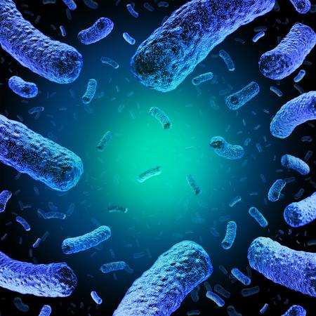 リステリア菌の 3 D 図と顕微鏡細菌感染医療のシンボルとして疾病を引き起こす危険な細菌のグループとして医療のコンセプトです。