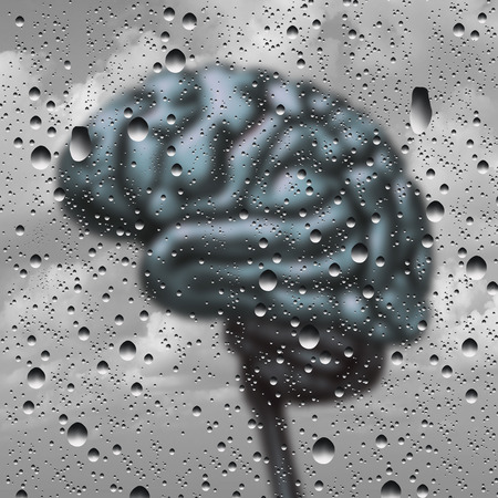 losing knowledge: Brain disease concept and dementia or depression as a mental health and neurology medical symbol with a thinking human organ as a foggy rain drop window as a creative concept for alzheimer disease with 3D illustration elements.
