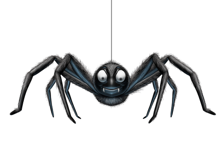 Creepy spider hanging from a single silk thread as a scary halloween element isolated on a white background as a 3D illustration. Stock Photo