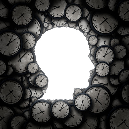 puntualidad: Es hora de pensar y pensar concepto programación como un grupo de objetos con forma de reloj de una cabeza humana como la puntualidad y el nombramiento de negocios metáfora de la tensión o presión de tiempo y el icono de las horas extraordinarias como una ilustración 3D. Foto de archivo