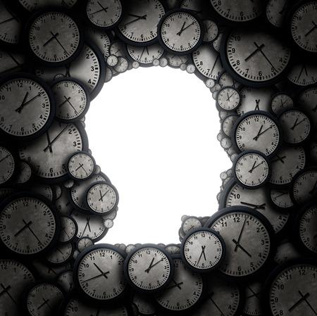 Zeit zum Nachdenken und Denken Zeitplan Konzept als eine Gruppe von Takt Objekte in Form eines menschlichen Kopfes als Geschäfts Pünktlichkeit und Terminstress Metapher oder Termindruck und Überstunden Symbol als 3D-Darstellung.