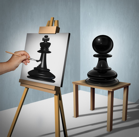 Leadership vision business concept as a chess game pawn being interpreted by a painter who is painting it as a king piece representing potential and motivation to aspire and succeed to a higher level as a 3D illustration. Stock Photo