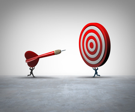 Collaborative business success concept as two businesspeople holding a dart and target coming together for a successful partnership solution for reaching a mutual goal with 3D illustration elements.