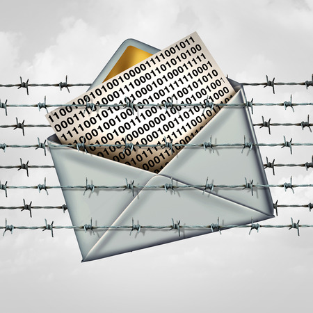 barbed wire fence: Email protection internet data security as a letter with binary code message trapped in a fence of barbed wire with 3D illustration elements.