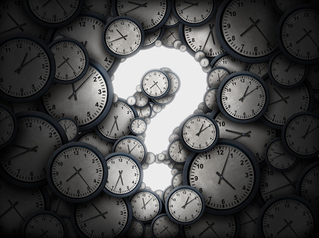 uncertain: Concept of time question or business schedule questions symbol as a group of clocks shaped as a glowing icon for uncertainty as a metaphor for deadline or corporate scheduling confusion or appointment information as a 3D illustration.