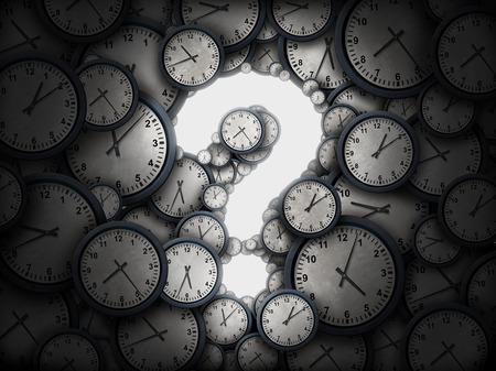 cronologia: Concepto de cuestión de tiempo u horario comercial preguntas símbolo como un grupo de relojes en forma brillante como un icono de la incertidumbre como una metáfora de la fecha límite o confusión programación corporativa o información de la cita como una ilustración 3D. Foto de archivo
