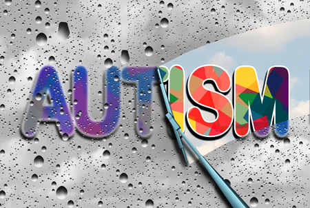 wiper: Autism awareness and autistic disorders concept as cloudy blurred text with a wiper clearing the confusion exposing a sharp understanding of the neurological syndrome with 3D illustration elements. Stock Photo