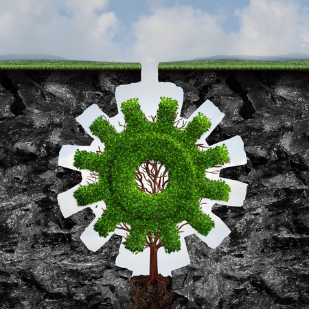 Custom business concept as a tree shaped as a gear or cog growing and adapting between two cliffs with a perfect fit as an industry growth idea with 3D illustration elements.