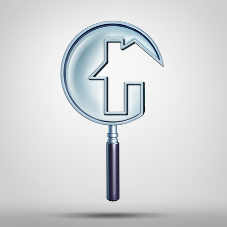 building inspector: Home inspection and house searching for real estate homes for sale that need to be inspected by a home inspector concept checking for building code violations as a magnifying glass shaped as a residence as a 3D illustration.