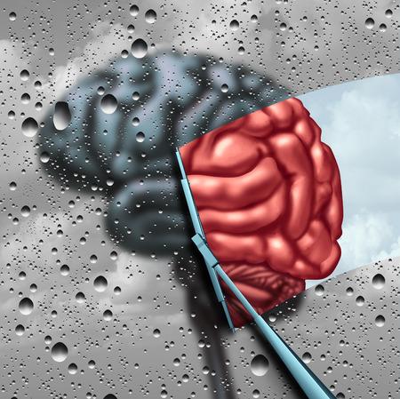 Dementie therapie en te genezen ziekte van de hersenen of geestelijke gezondheid behandeling concept een wazige hersenen met druppels op een venster als een ruitenwisser reinigt de verwarring om een gezond denken orgaan als een symbool voor neurologie of psychologische hulp met 3D illustratie elementen. Stockfoto