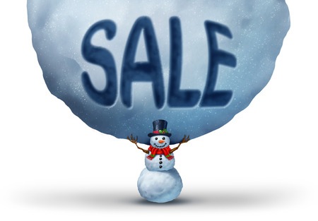 retail sales: Winter sale icon with a snowman lifting up a giant snowball with text embosed in the snow as a retail marketing and promotion symbol to advertise a Chritmas specials or holiday rebates with 3D illustration elements.