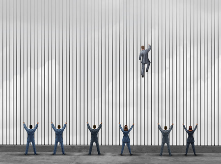 Obstacle to opportunity concept as a group of people as businessmen and businesswomen locked behind prison bars with one individual smart business leader using clever innovative thinking to climb the jail to freedom with 3D illustration elements. Stock Photo