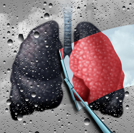 clean air: Lung health therapy medical concept as a sick human cardiovascular organ on a rainy window being wiped clean of disease and illness by a wiper as a metaphor for diseases of the lungs solution and asthma treatment with 3D illustration elements. Stock Photo