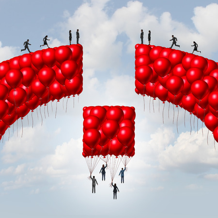 bridging the gap: Management team business concept as a group of balloons shaped as a broken bridge with leaders rising up with a balloon collection bridging the gap as a solution metaphor for teamwork and global unity symbol with 3D illustration elements.