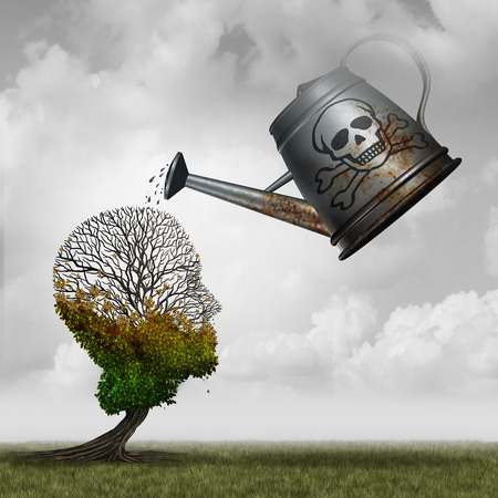 Contaminated water concept and environmental problem symbol as a toxic watering can pouring poison on an injured tree that is shaped as a human head as an environment pollution icon with 3D illustration elements.