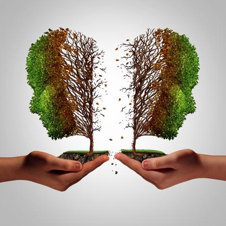 Relatie mislukking als een breuk concept en een schadelijke scheiding en pijnlijke scheiding psychologie idee als een verdeelde zieke boom in de vorm van twee kwetsen van mensen in het bezit van de menselijke handen als een metafoor voor de scheiding met 3D-illustratie elementen.
