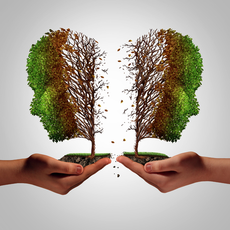 Relationship failure as a breakup concept and a damaging separation and painful divorce psychology idea as a divided sick tree shaped as two hurting people held by human hands as a metaphor for separation with 3D illustration elements.