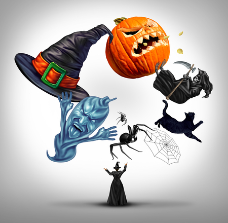 3d witch: Halloween juggling witch as a sorcerer using symbols of a fall celebration as a hat spiders spiderweb and black cat also a pumpkin jack o lantern with 3D illustration elements.