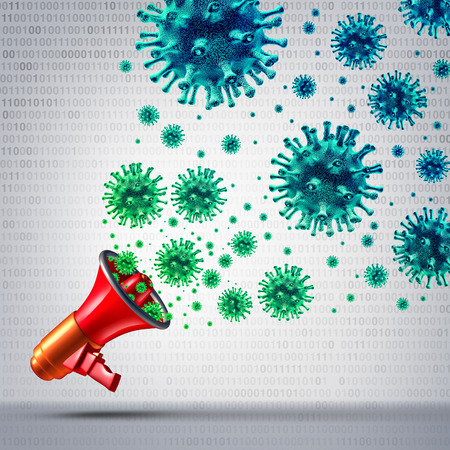 communication metaphor: Social viral communication and internet media virus networking technology as an online web data distribution symbol and trending information metaphor as a 3D illustration. Stock Photo