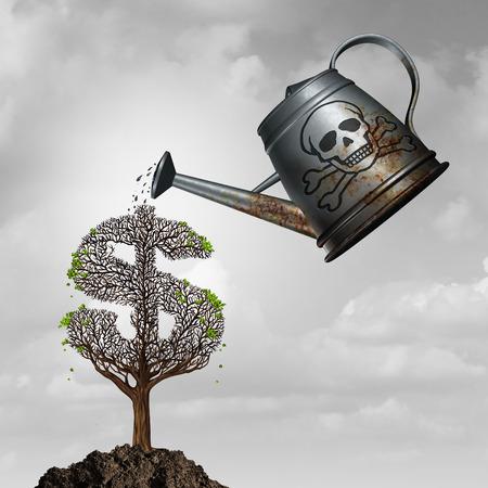 arbol de problemas: fraude de inversiones o activos tóxicos que invierten concepto como una regadera con veneno para regar un dólar enfermo o árbol de dinero como la corrupción financiera y la metáfora problema fraudulenta con elementos de ilustración 3D.