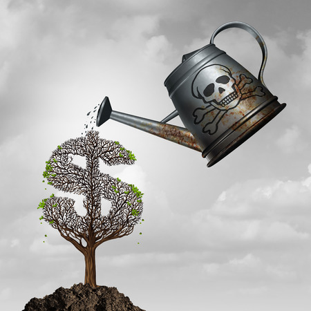 poison sign: Investment fraud or toxic assets investing concept as a watering can with poison watering a sick dollar or money tree as a financial corruption and fraudulent problem metaphor with 3D illustration elements.