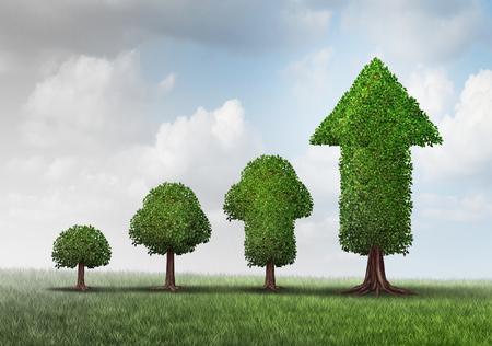 Konzept der wachsenden Erfolg als eine Gruppe von Bäumen von einem kleinen Start in einen erfolgreichen finnischen als ein Baum wie ein Pfeil geformt Entwicklung mit 3D-Darstellung Elemente als Business-Metapher für Investitionsreife.