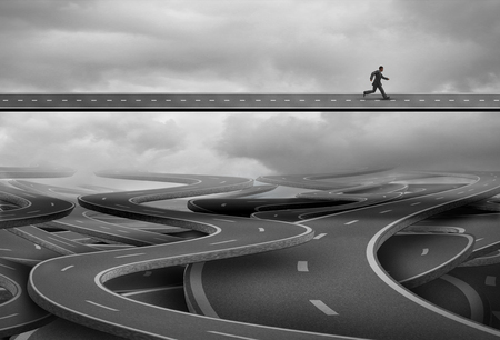 path to success: Pathway to freedom and concept for escape and a way forward towards success as a businessman finding the solution path and rise above and leave the confusion of a group of tangled roads below with 3D illustration elements.