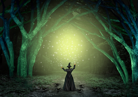 wicked: Magical witch casting a magic spell in a scary dark mystery forest as a wicked sorcerer creating a glittering green glow as a halloween background with text space with 3D illustration elements. Stock Photo