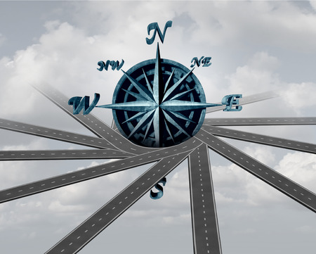 lost: Decide on direction and path choice concept as a wind rose compass wrapped with roads as a navigation and transport symbol or career business guidance icon as a 3D illustration. Stock Photo