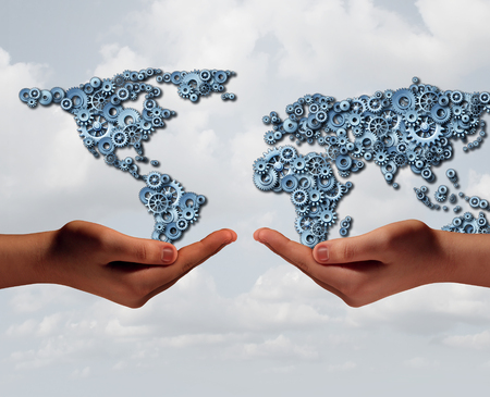 holding hands: Global industry trade and international business agreement concept as two diverse hands holding a group of gears shaped as the world with 3D illustration elements. Stock Photo
