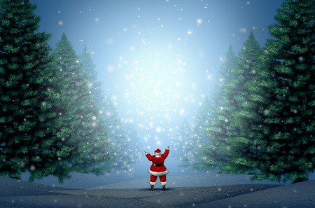 gift of hope: Magical Christmas background as Santa Clause standing in a blue winter forest with magic lights and glowing glitter with copy space as a holiday greeting for hope and a happy New Year with 3D illustration elements.